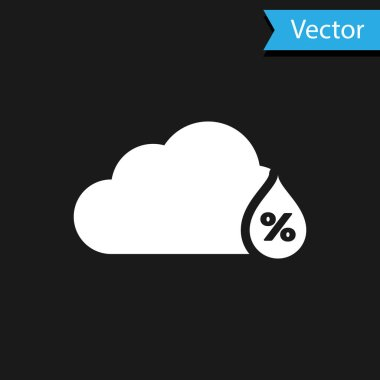 White Humidity icon isolated on black background. Weather and meteorology, cloud, thermometer symbol. Vector Illustration