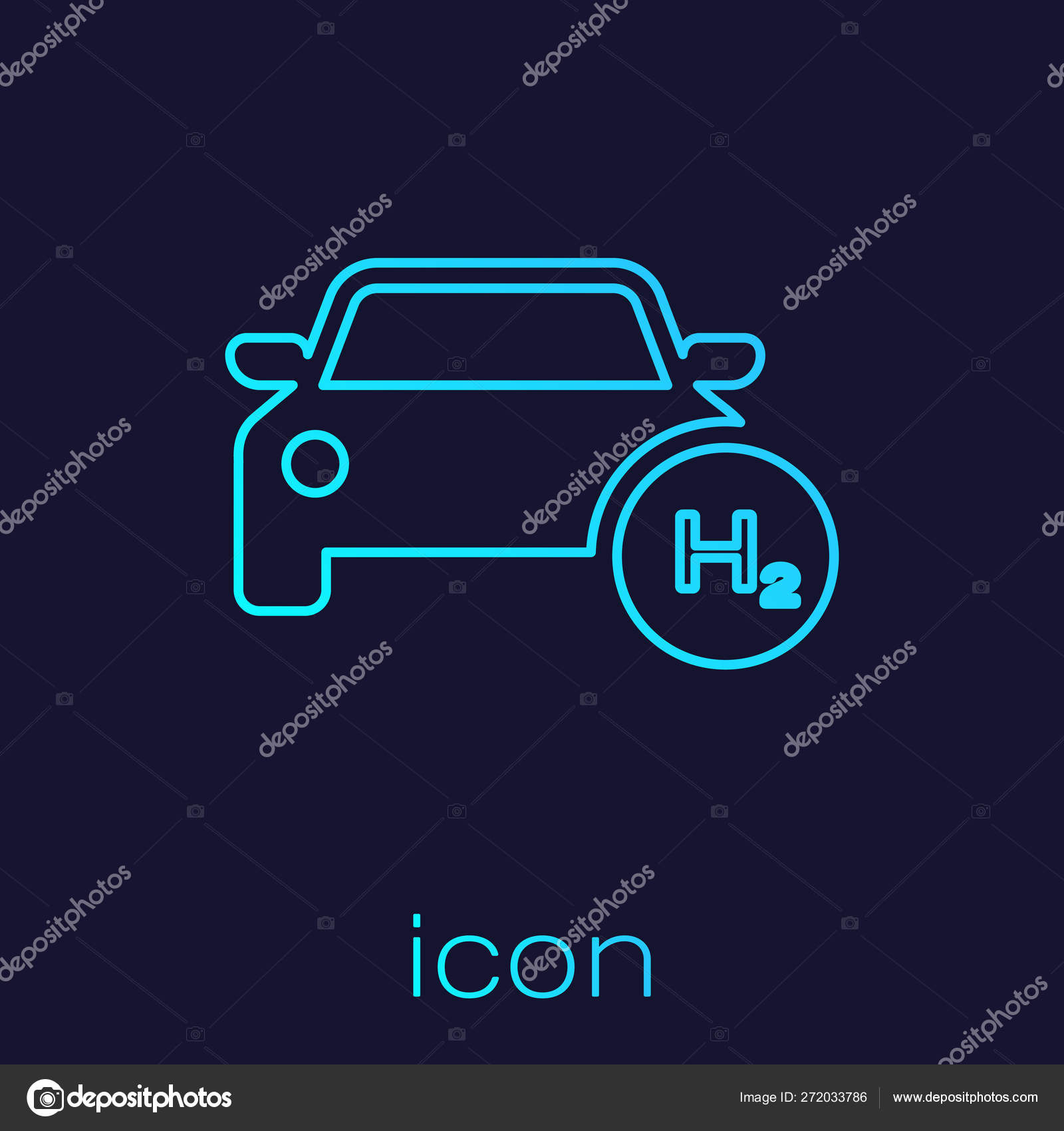 Turquoise Hydrogen car line icon isolated on blue background