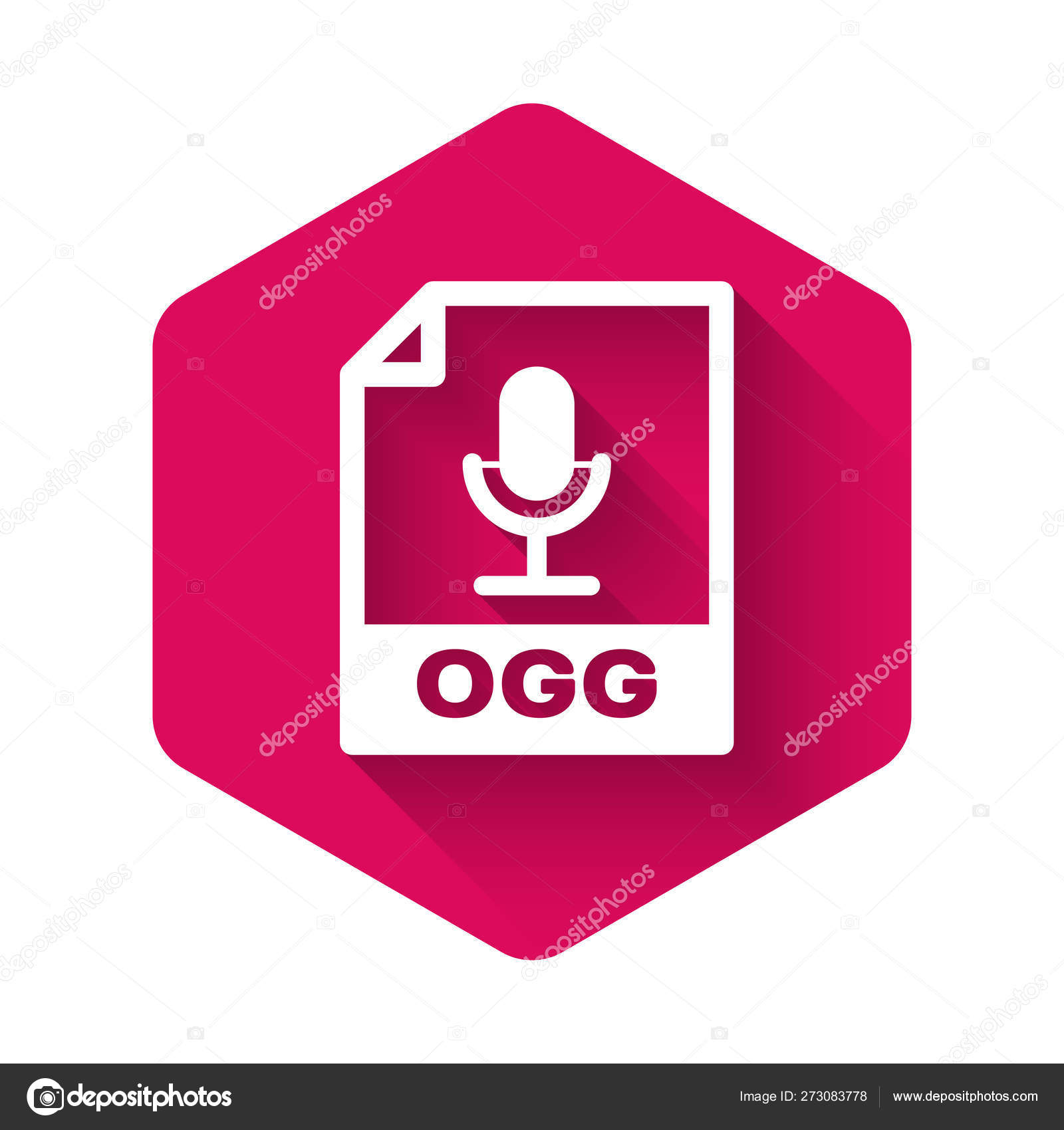 White OGG file document icon  Download ogg button icon isolated with