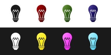 Set Light bulb icon isolated on black and white background. Energy and idea symbol. Lamp electric. Vector Illustration