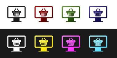Set Computer monitor with shopping basket icon isolated on black and white background. Online Shopping cart. Supermarket basket symbol. Vector Illustration