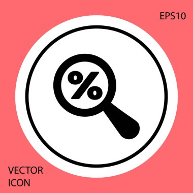 Black Magnifying glass with percent discount icon isolated on red background. Discount offers searching. Search for discount sale sign. White circle button. Vector Illustration
