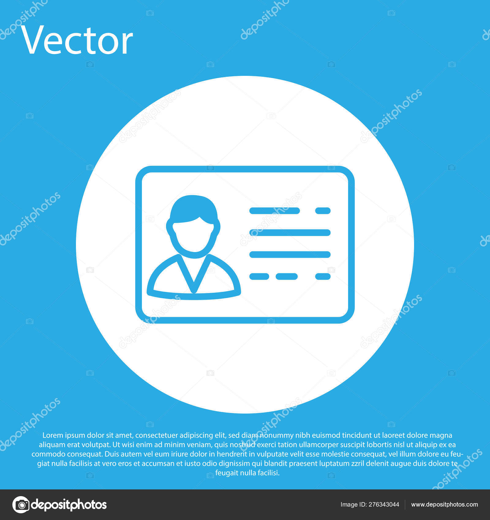 blue identification badge line icon isolated on blue background it can be used for presentation identity of the company advertising white circle button vector illustration stock vector c vectorvalera gmail com 276343044 https depositphotos com 276343044 stock illustration blue identification badge line icon html