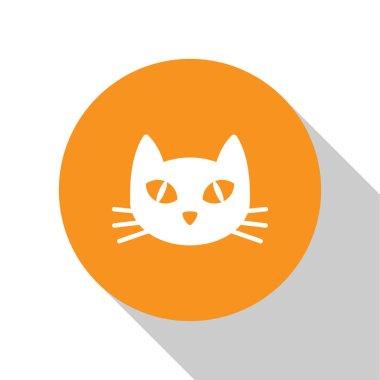 White Cat icon isolated on white background. Orange circle button. Vector Illustration