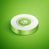 Izometrická ikona termostatu je izolovaná na zeleném pozadí. Regulátor teploty. Tlačítko Bílého kruhu. Vektorová ilustrace