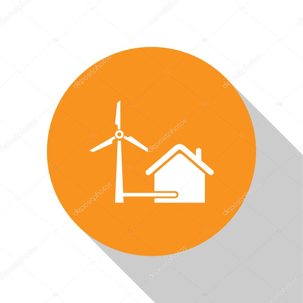 White House with wind turbine for electric energy generation icon isolated on white background. Eco-friendly house. Environmental Protection. Orange circle button. Vector Illustration
