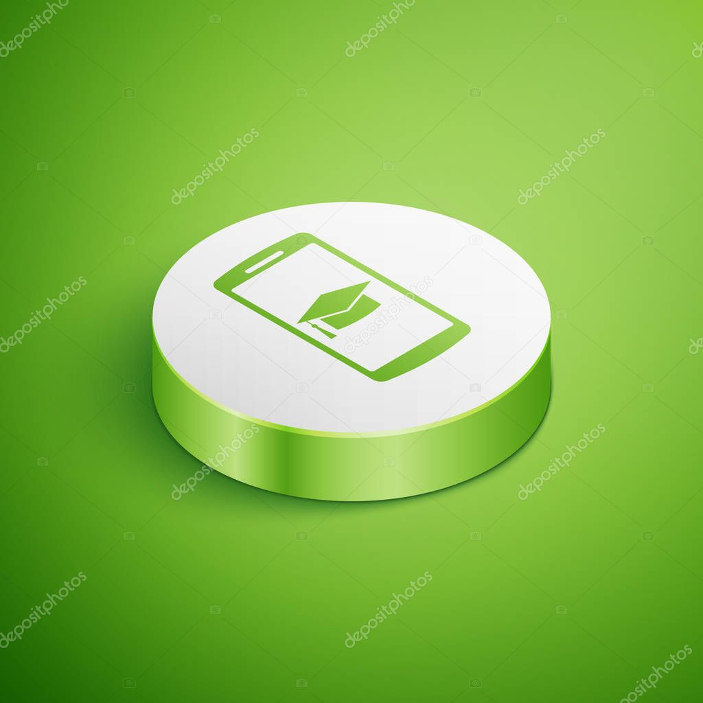 Isometric Graduation cap on screen smartphone icon isolated on green background. Online learning or e-learning concept. White circle button. Vector Illustration