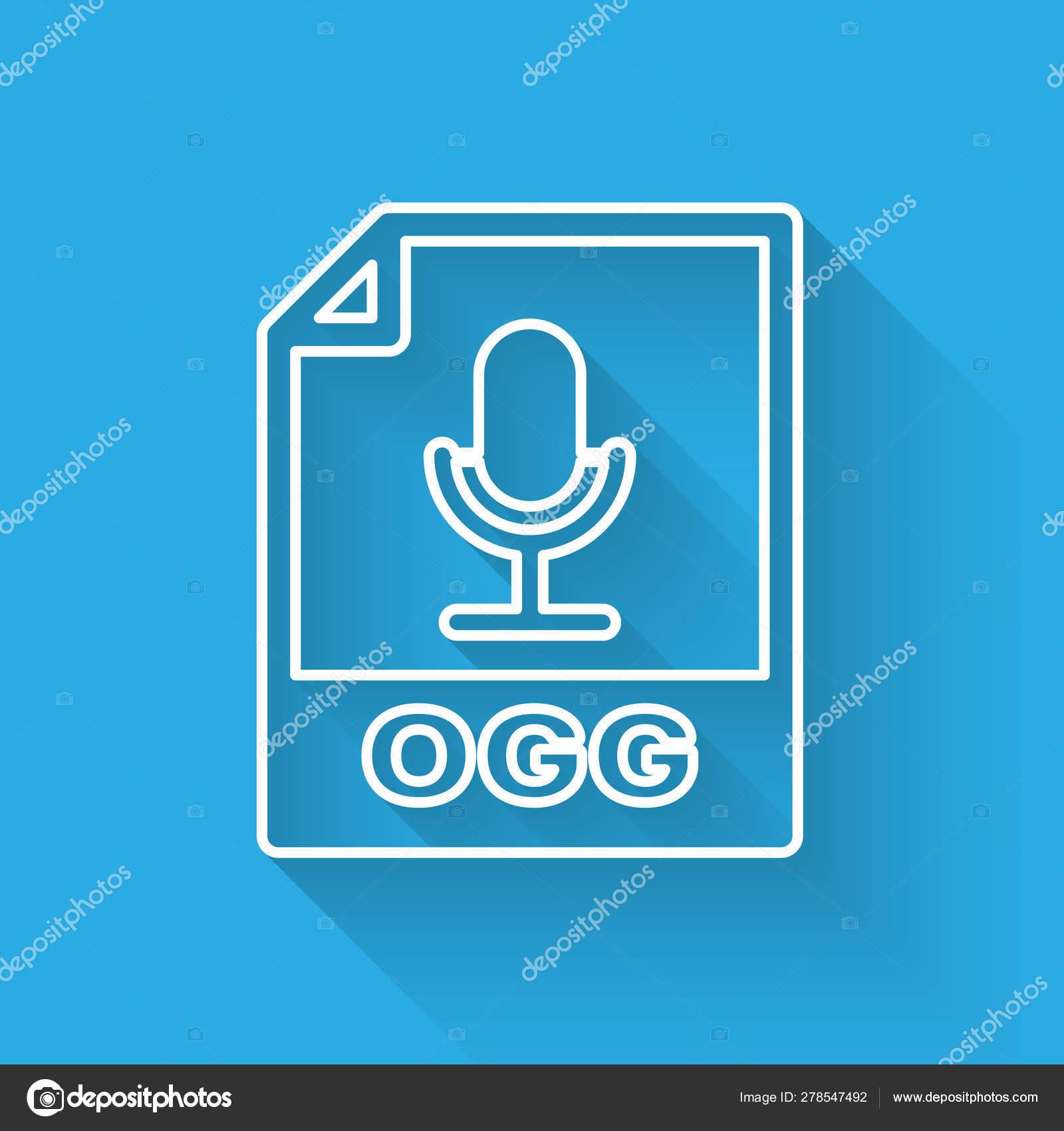 White OGG file document icon  Download ogg button line icon