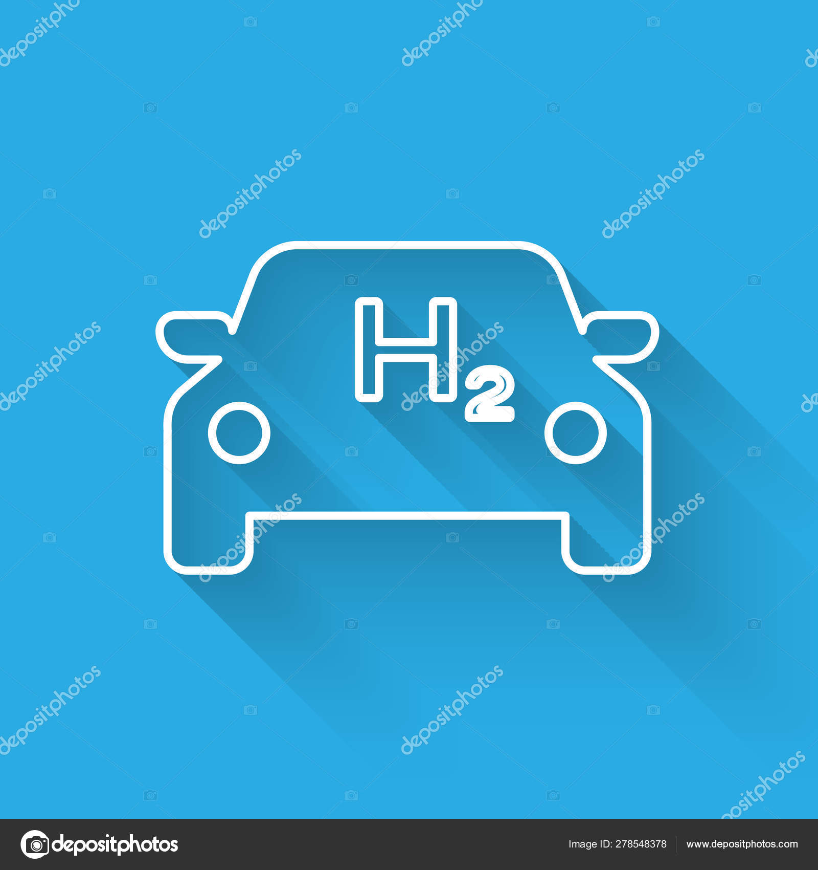 White Hydrogen car line icon isolated with long shadow  H2