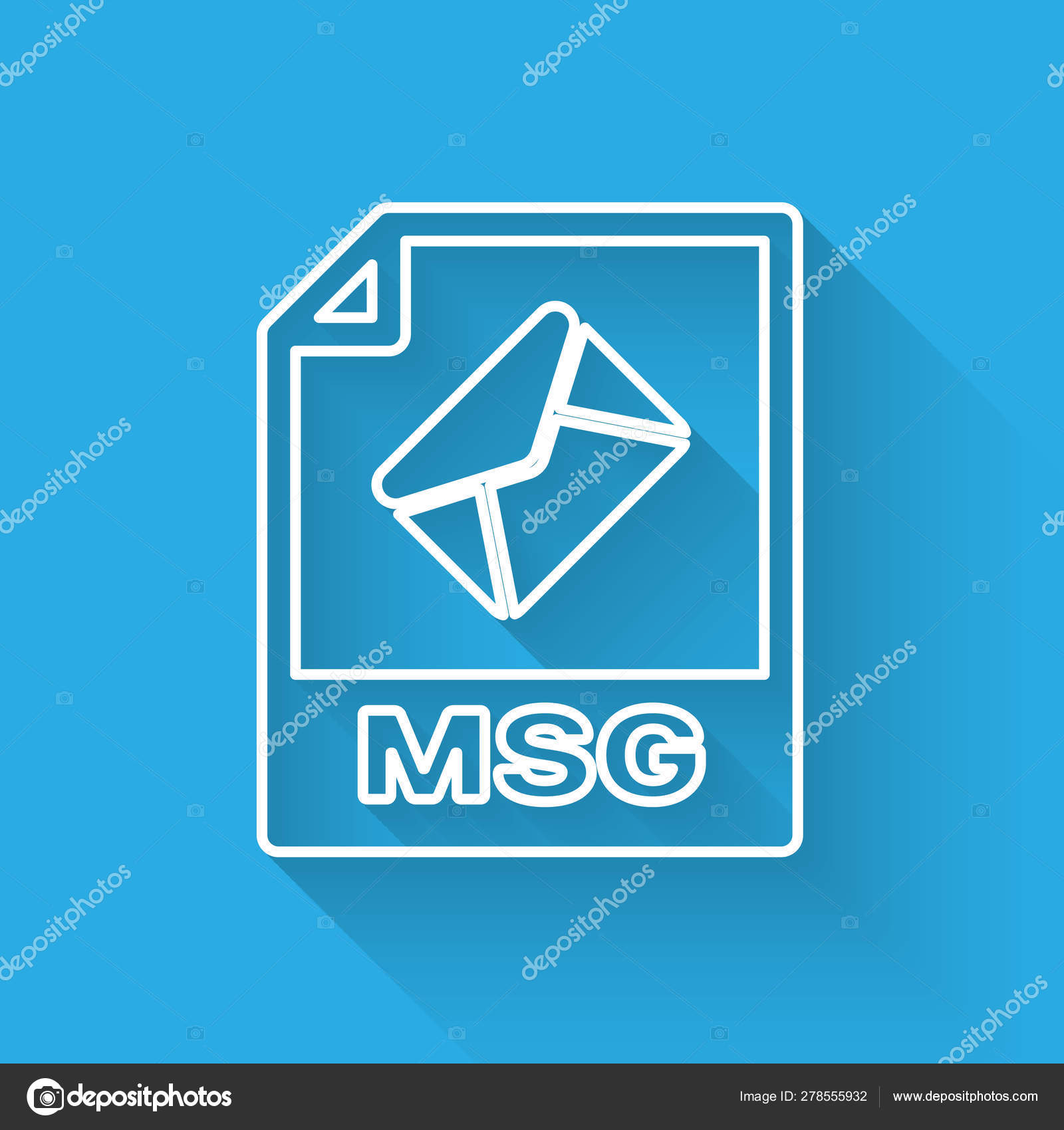 White MSG file document icon  Download msg button line icon isolated