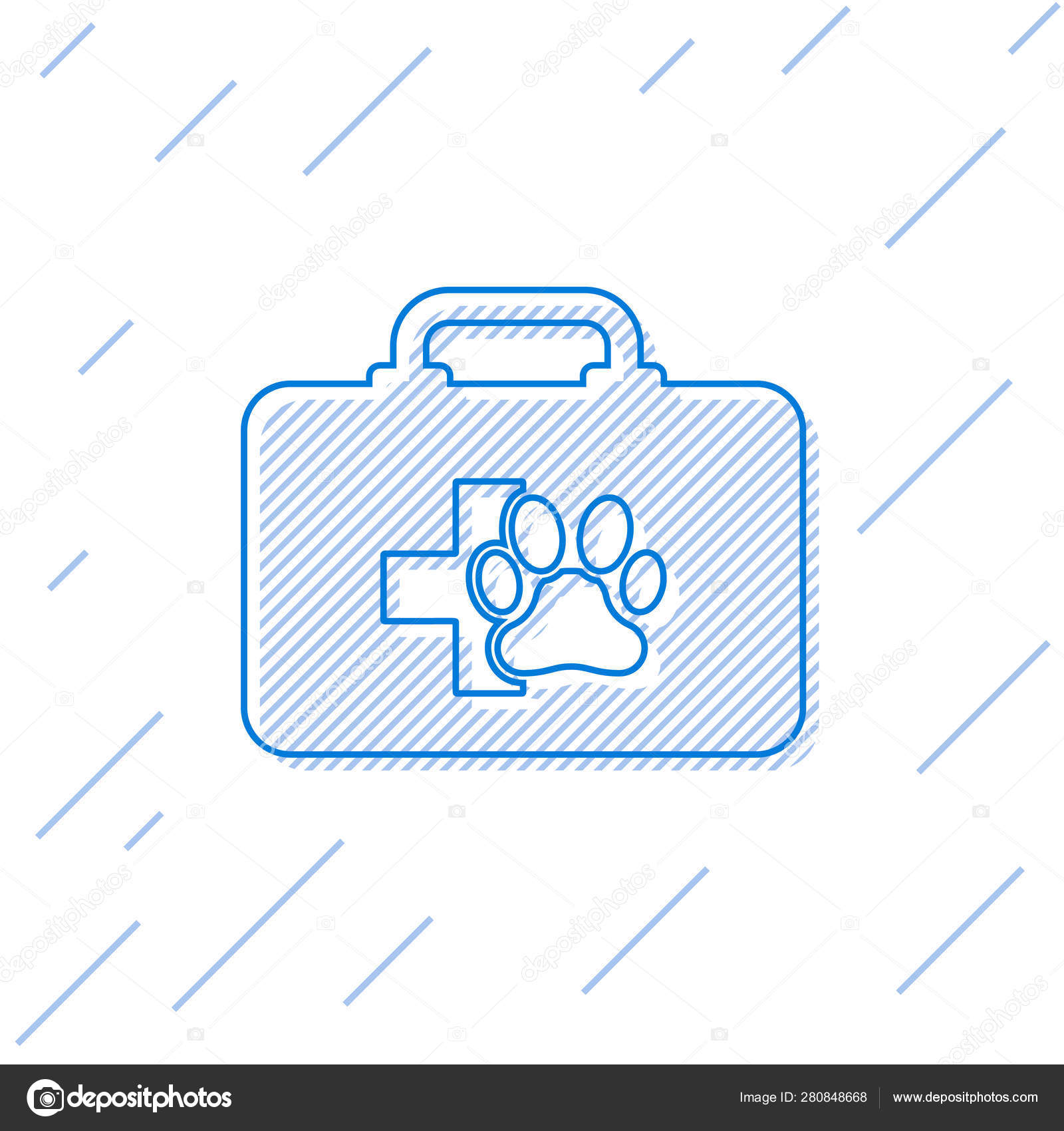Blue Pet first aid kit line icon isolated on white