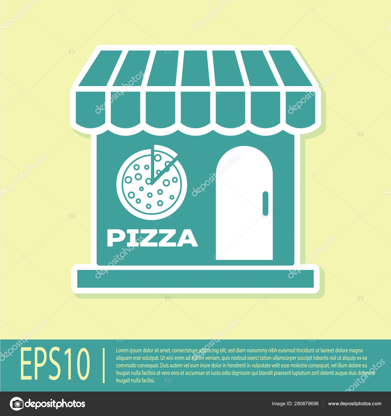 Green Pizzeria building facade icon isolated on yellow background