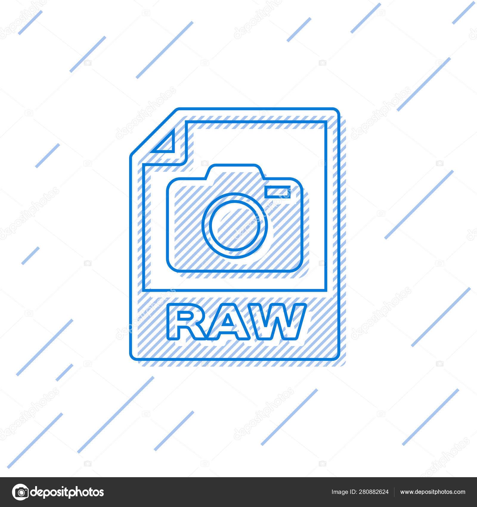 Blue RAW file document icon  Download raw button line icon