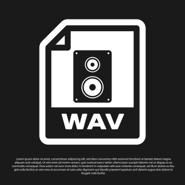 Black WAV file document icon. Download wav button icon isolated on black background. WAV waveform audio file format for digital audio riff files. Vector Illustration