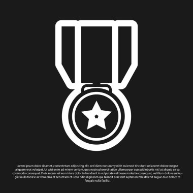 Black Medal with star icon isolated on black background. Winner achievement sign. Award medal. Vector Illustration