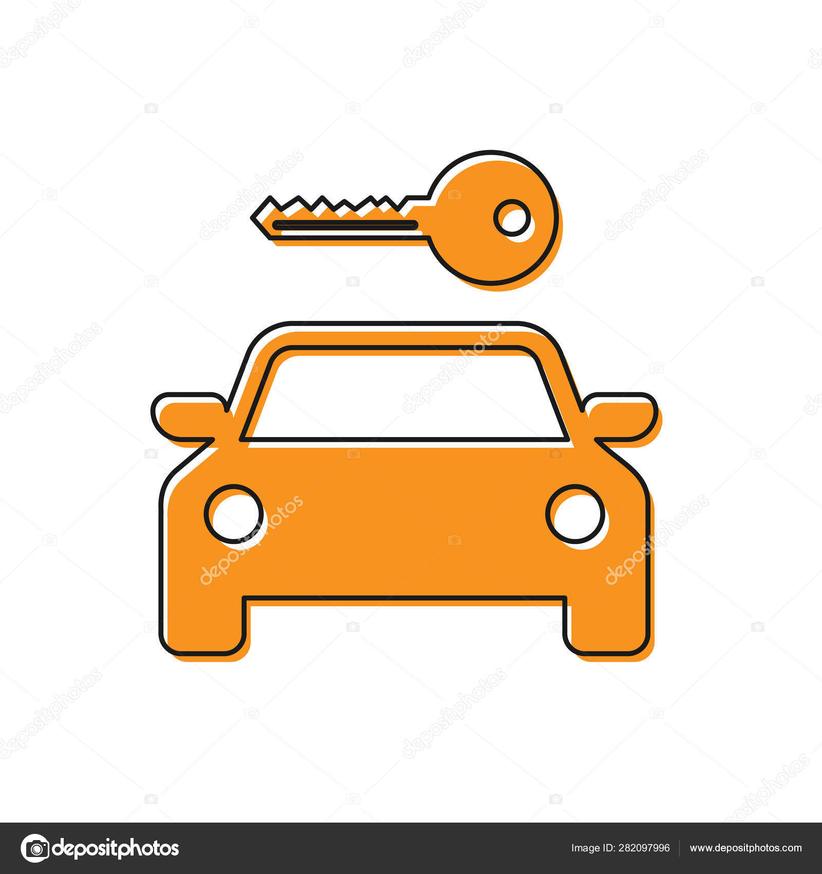 Orange Car Rental Icon Isolated On White Background Rent A Car Sign Key With Car Concept For Automobile Repair Service Spare Parts Store Vector Illustration Stock Vector C Vectorvalera Gmail Com 282097996