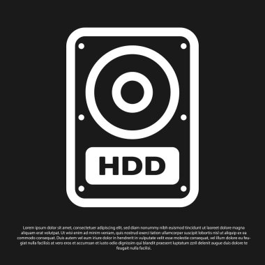 Black Hard disk drive (HDD) icon isolated on black background. Vector Illustration
