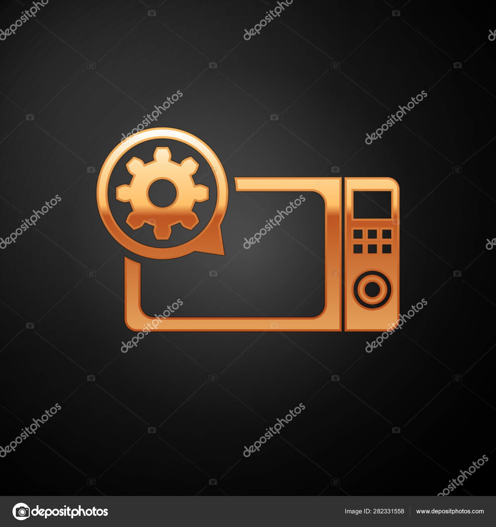 Fixation Pour Micro Onde four et icône d'engrenage d'or de micro-ondes d'isolement