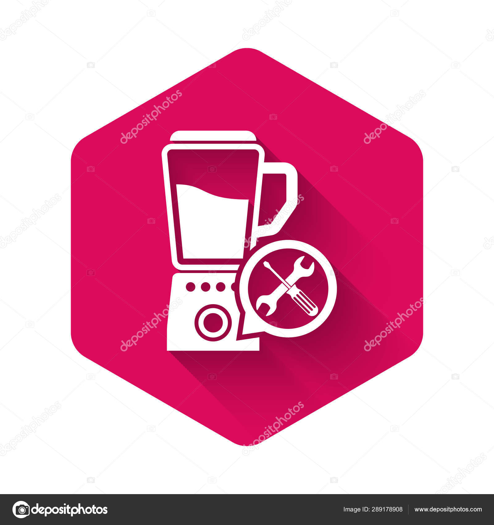 White Blender with screwdriver and wrench icon isolated with