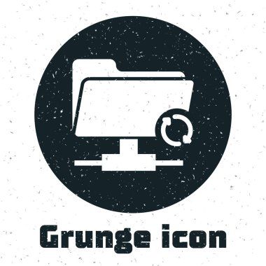 Grunge FTP sync refresh icon isolated on white background. Software update, transfer protocol, router, teamwork tool management, copy process. Vector Illustration