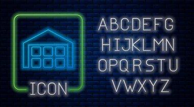 Glowing neon Warehouse icon isolated on brick wall background. Neon light alphabet. Vector Illustration
