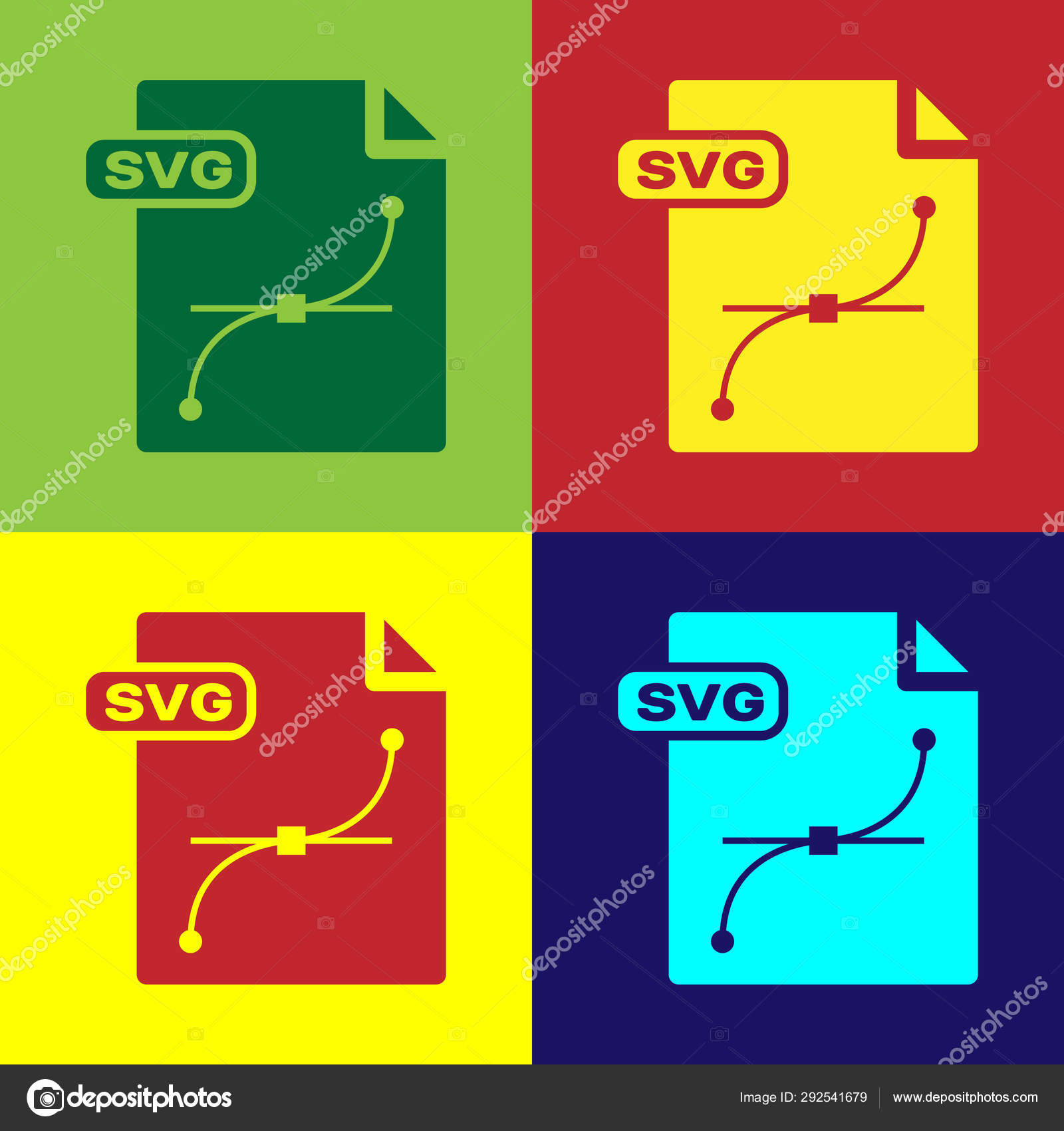 Color SVG file document  Download svg button icon isolated