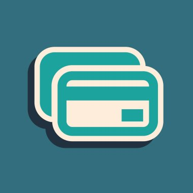 Green Credit card icon isolated on blue background. Online payment. Cash withdrawal. Financial operations. Shopping sign. Long shadow style. Vector Illustration