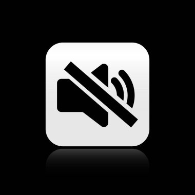 Black Speaker mute icon isolated on black background. No sound icon. Volume Off symbol. Silver square button. Vector Illustration