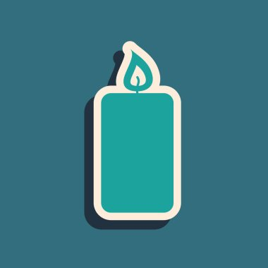 Green Burning candle icon isolated on blue background. Old fashioned lit candle. Cylindrical aromatic candle stick with burning flame. Long shadow style. Vector Illustration