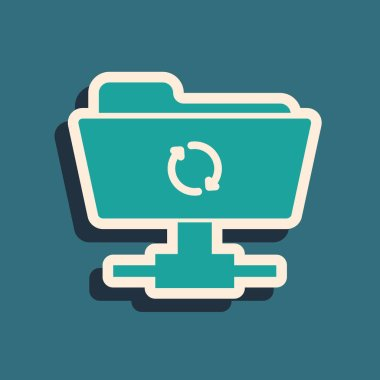 Green FTP sync refresh icon isolated on blue background. Software update, transfer protocol, router, teamwork tool management, copy process. Long shadow style. Vector Illustration