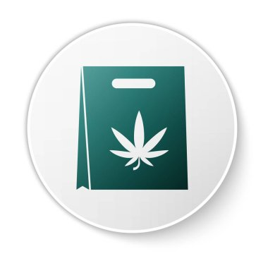 Green Shopping paper bag of medical marijuana or cannabis leaf icon isolated on white background. Buying cannabis. Hemp symbol. White circle button. Vector Illustration