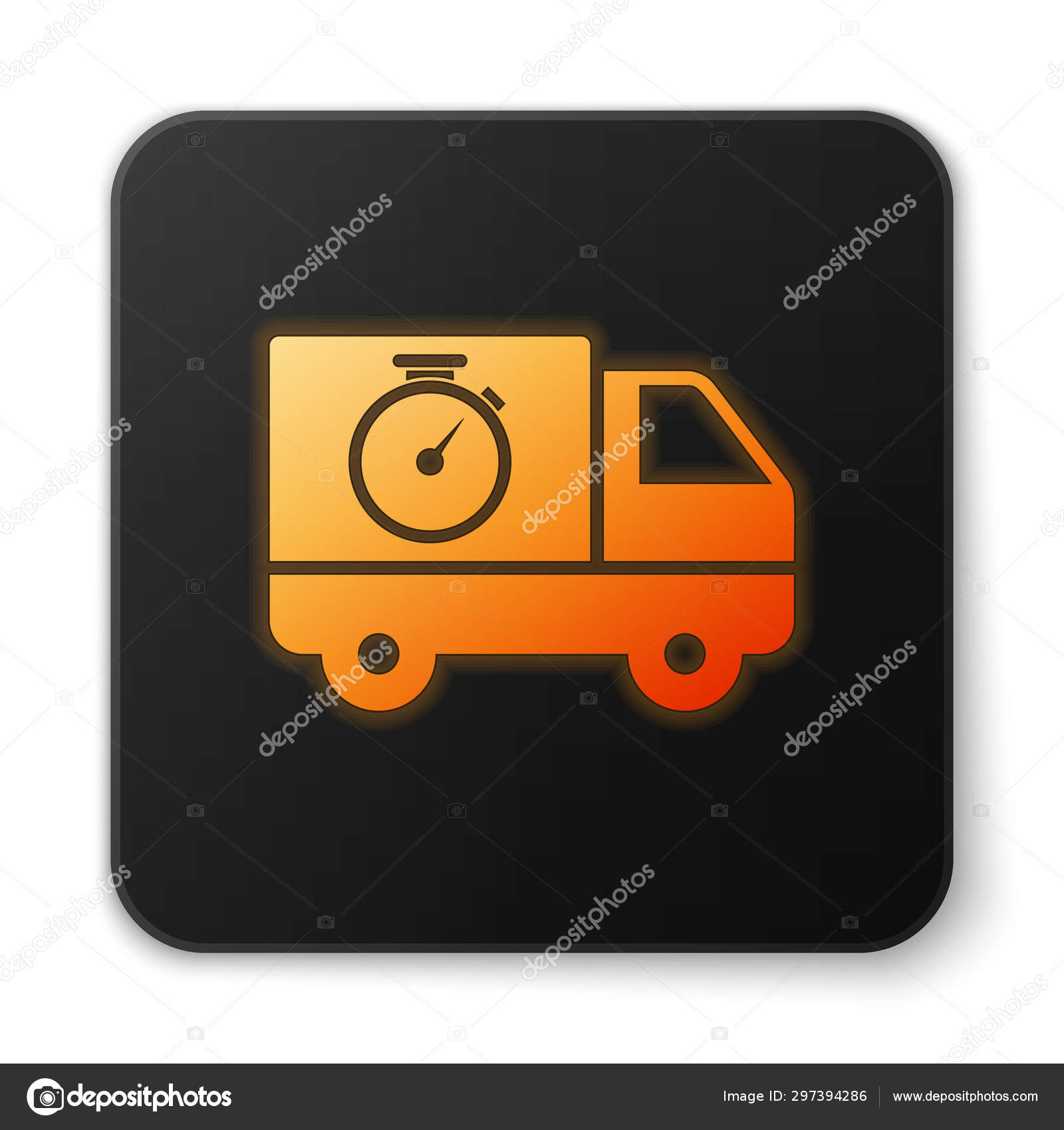 Orange Glowing Neon Logistics Delivery Truck And Stopwatch