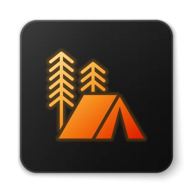 Orange glowing neon Tourist tent icon isolated on white background. Camping symbol. Black square button. Vector Illustration