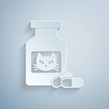 Paper cut Cat medicine bottle and pills icon isolated on grey background. Container with pills. Prescription medicine for animal. Paper art style. Vector Illustration