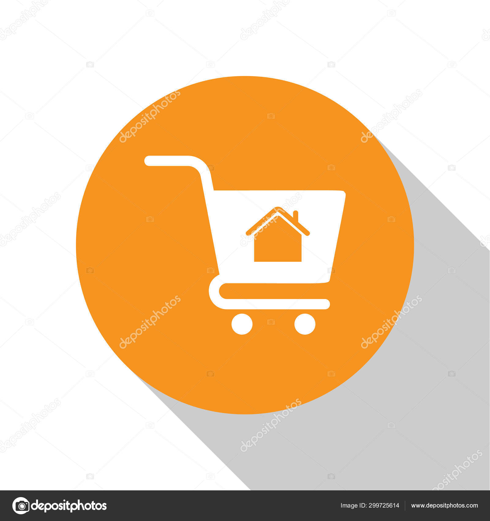 White Shopping Cart With House Icon Isolated On White Background Buy House Concept Home Loan Concept Rent Buying A Property Orange Circle Button Vector Illustration Stock Vector C Vectorvalera Gmail Com 299725614