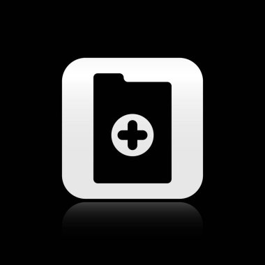 Black Medical clipboard with clinical record icon isolated on black background. Health insurance form. Prescription, medical check marks report. Silver square button. Vector Illustration