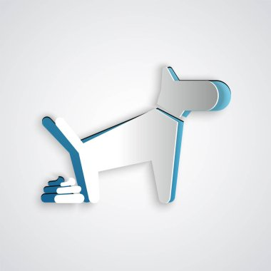 Paper cut Dog pooping icon isolated on grey background. Dog goes to the toilet. Dog defecates. The concept of place for walking pets. Paper art style. Vector Illustration clip art vector