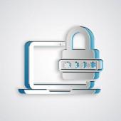 Střih papíru přenosný počítač s upozorněním na heslo a ikonou zámku izolované na šedém pozadí. Zabezpečení, osobní přístup, autorizace uživatele, přihlašovací formulář. Styl papírového umění. Vektorová ilustrace