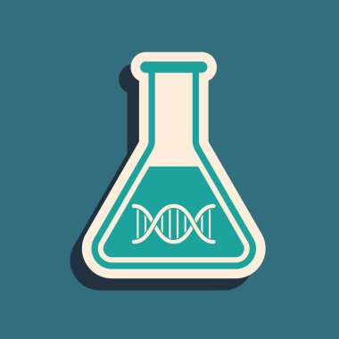 Green DNA research, search icon isolated on blue background. Genetic engineering, genetics testing, cloning, paternity testing. Long shadow style. Vector Illustration