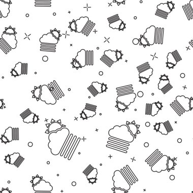 Black line Fog and cloud with sun icon isolated seamless pattern on white background. Vector Illustration