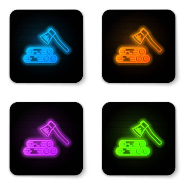 Glowing neon Wooden axe and wood icon isolated on white background. Lumberjack axe. Black square button. Vector Illustration