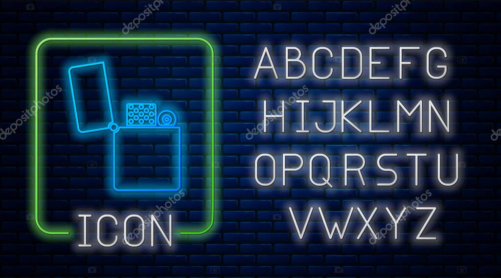 Glowing neon Lighter icon isolated on brick wall background. Neon light alphabet. Vector Illustration