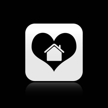 Black House with heart shape icon isolated on black background. Love home symbol. Family, real estate and realty. Silver square button. Vector Illustration