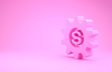 Pink Gear with dollar symbol icon isolated on pink background. Business and finance conceptual icon. Minimalism concept. 3d illustration 3D render