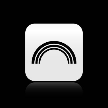 Black Rainbow icon isolated on black background. Silver square button. Vector Illustration