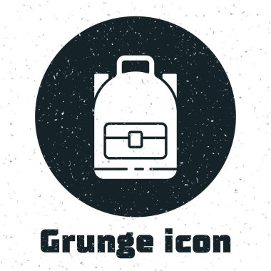 Grunge Hiking backpack icon isolated on white background. Camping and mountain exploring backpack. Monochrome vintage drawing. Vector Illustration.