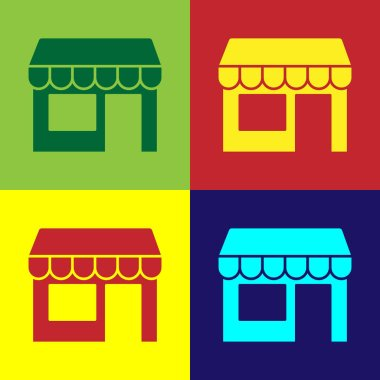 Pop art Shopping building or market store icon isolated on color background. Shop construction.  Vector.