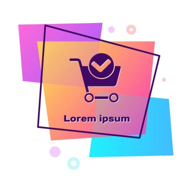 Purple Shopping cart with check mark icon isolated on white background. Supermarket basket with approved, confirm, tick, completed. Color rectangle button. Vector Illustration.