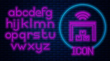 Glowing neon Smart warehouse system icon isolated on brick wall background. Neon light alphabet. Vector.