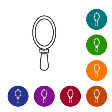 Black line Hand mirror icon isolated on white background. Set icons in color circle buttons. Vector Illustration.